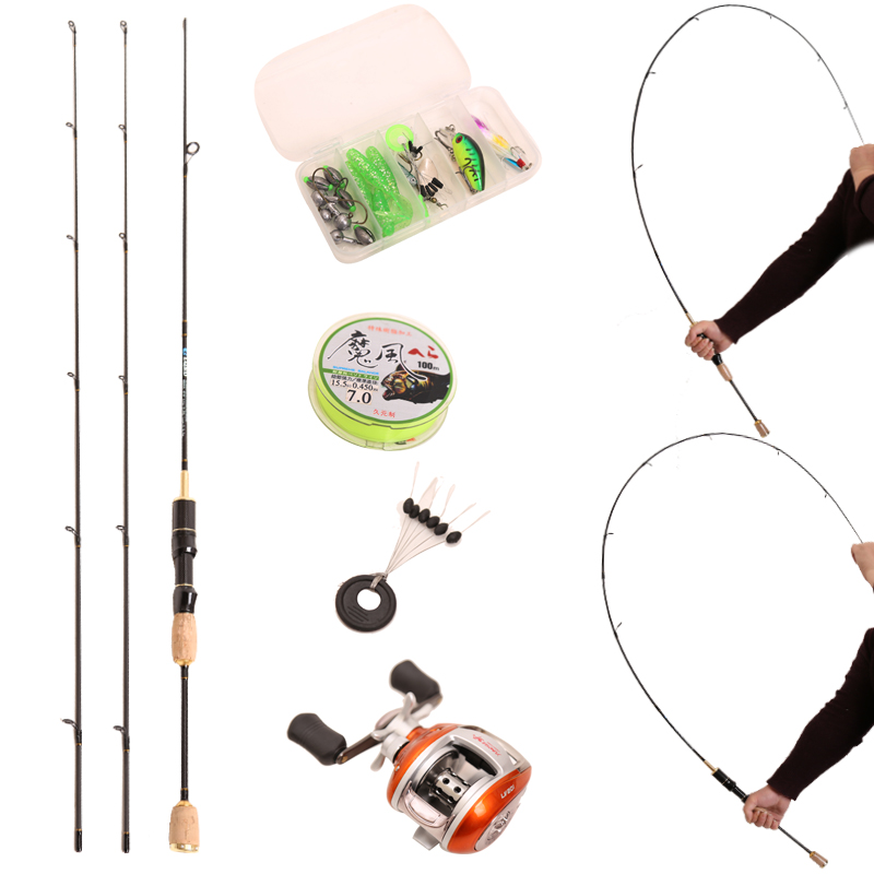 UL/L fishing rods 1.8m 1-10g 5-15g 2 Section Carbon ultralight Casting Rods lure rod set Parts Soft Carbon +1BB & spinning reel