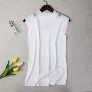 Image 4 - Half High Collar Sexy Tank Tops Women Sleeveless Knitted Vest Female Elasticity Solid Slim Pullover 2020 Summer Solid Bottoming