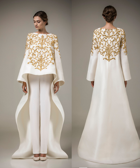 New Designer Gold Embroidery Evening Dresses 2015 Party Dress White