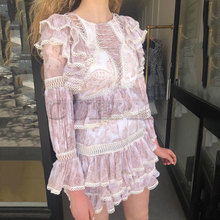 2019 New Arrival Women Dress Long Sleeve Sexy Ruffled Style Holiday and Beach CUERLY High Quality Lace Pink