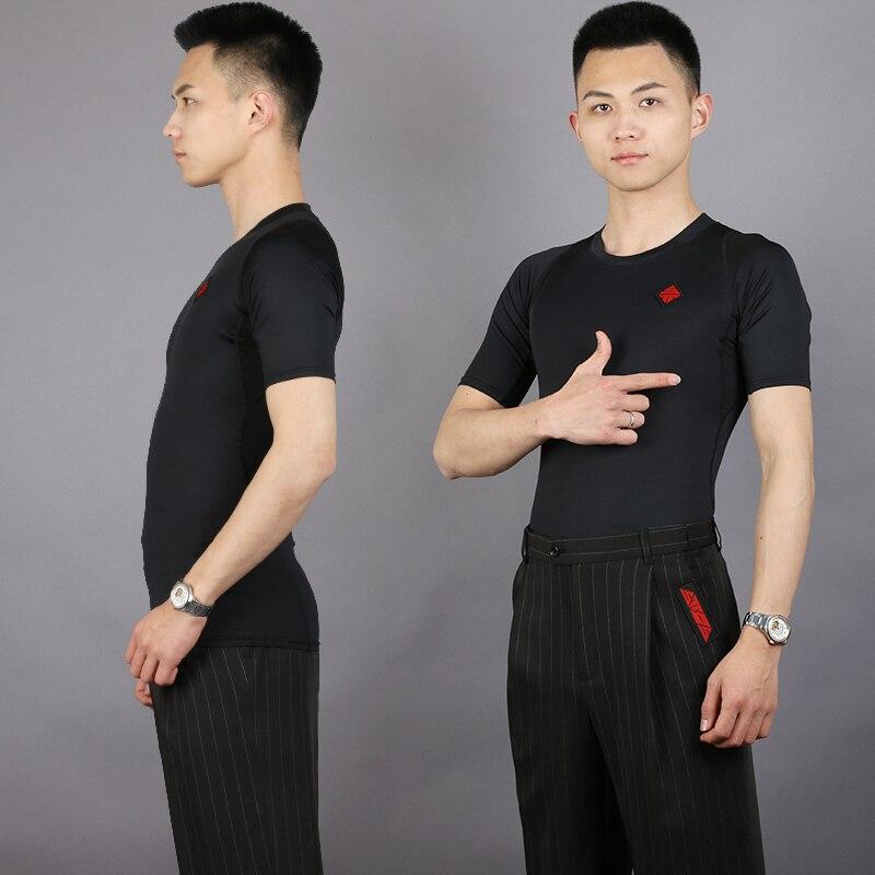 Slim Ballroom Dance Top For Men Black Short Sleeves Latin Dancing Practice Wear Standard Dance Waltz Rumba Tango Clothes DC2049