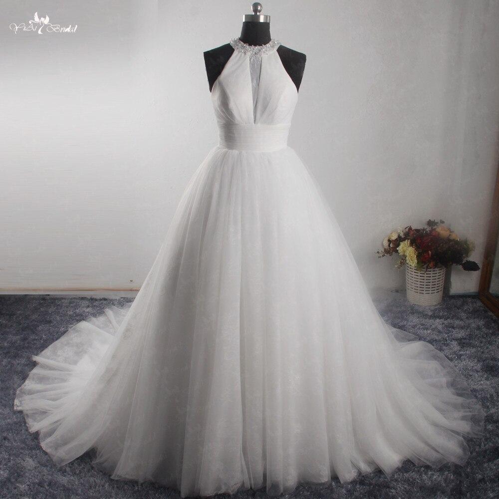 LZ272 Yiaibridal Pictures White Sleeveless Wedding Dress Halter Backless Bridal  Dresses 2018 Vestido De Noiva 56e5d222520d