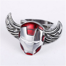 Cosplay Iron Man Superman Rings Anime Turnable Captain America X-Men Wing Rings Shiled Spider-man Ring Men Jewelry(China)