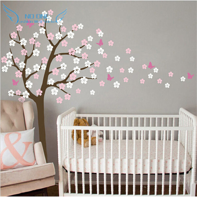 Huge Tree Ing Cherry Blossom Wall Decal Nursery Flowers Erfly Art Baby Kids Room