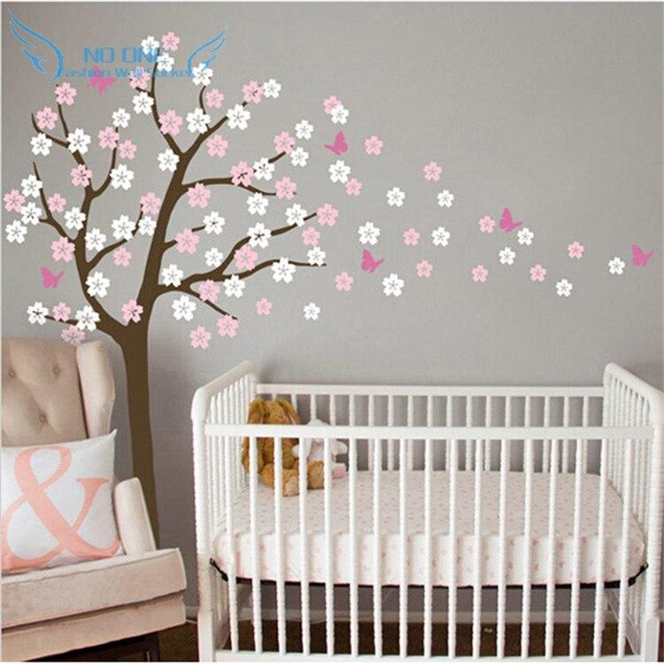 US $23.19 20% OFF|Riesige Baum Blasen Kirschblüte Wandtattoo Kindergarten  Baum Blumen Schmetterling Baby Kinderzimmer Wandaufkleber Natur Wand ...