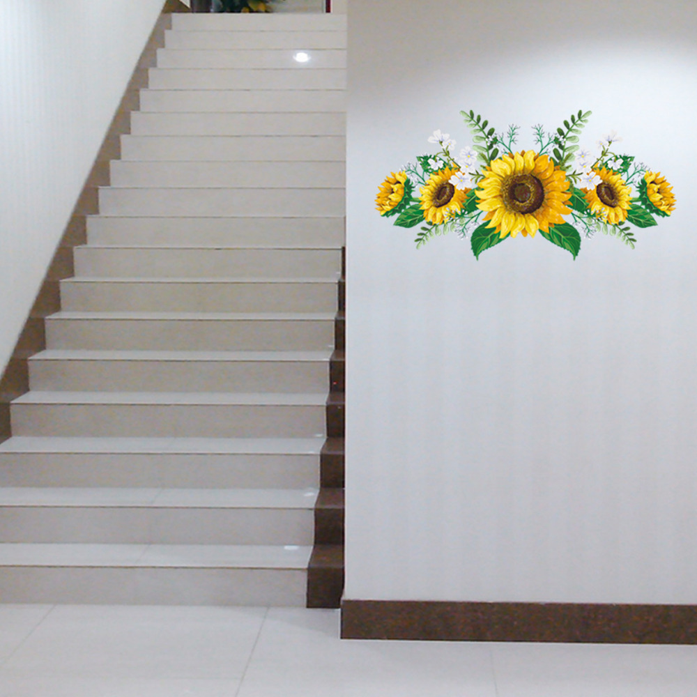 1PCS 3D Sunflower Wall Sticker For Refrigerator Cabinet Door Living Room Bedroom Home Decor 60 30CM DROP SHIPPING in Wall Stickers from Home Garden