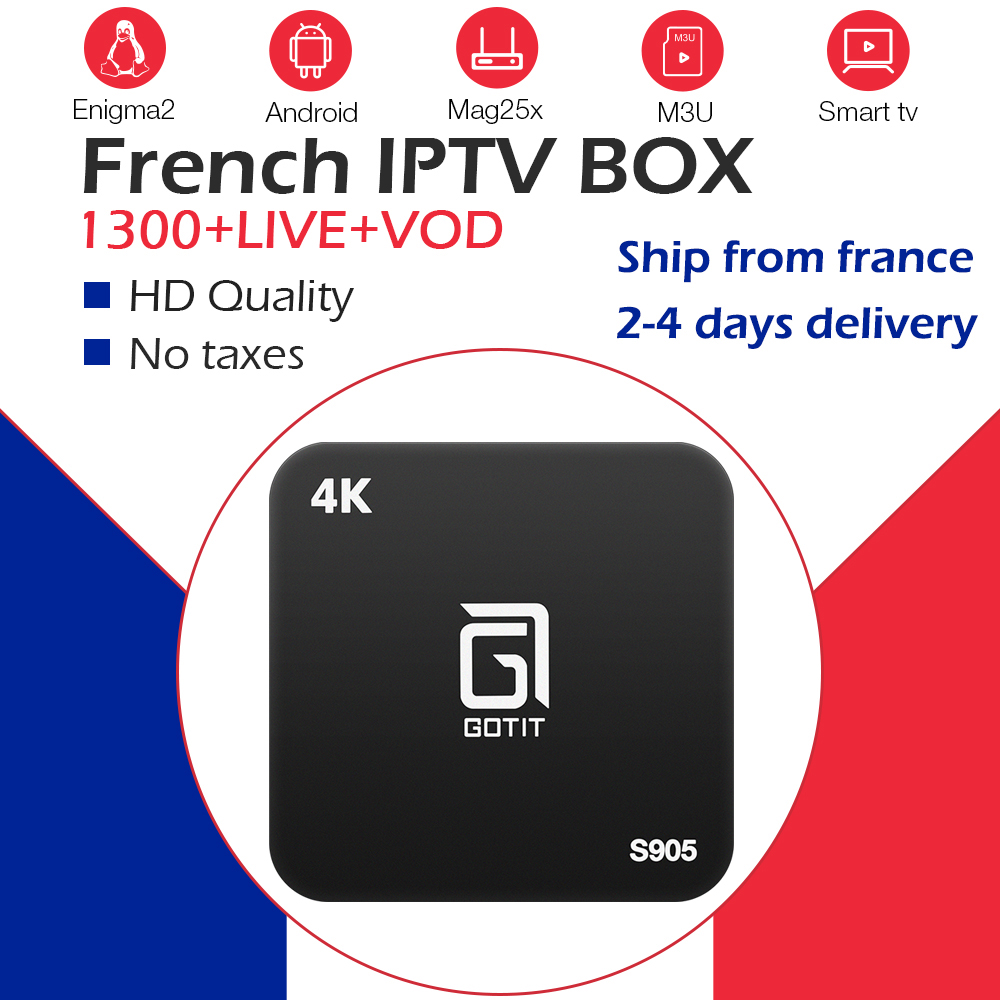 S905 Android tv box with iptv French iptv subscription channel FHD 1300 Live tv Spain <font><b>Belgium</b></font> Arabic France iptv smart TV box image