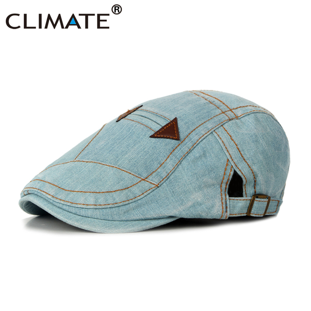 US $8 53 35% OFF CLIMATE Men Denim Berets Flat Cap Hat Men Cool Beret Denim  Man Hat Adult Jeans Cap Adjustable Adult Denim Jeans Cotton Flat Caps-in