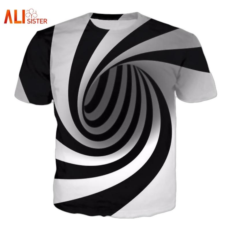 Black And White Vertigo Hypnotic Printing T Shirt Unisxe Funny Short Sleeved Tees Men/women Tops Men's 3D T-shirt