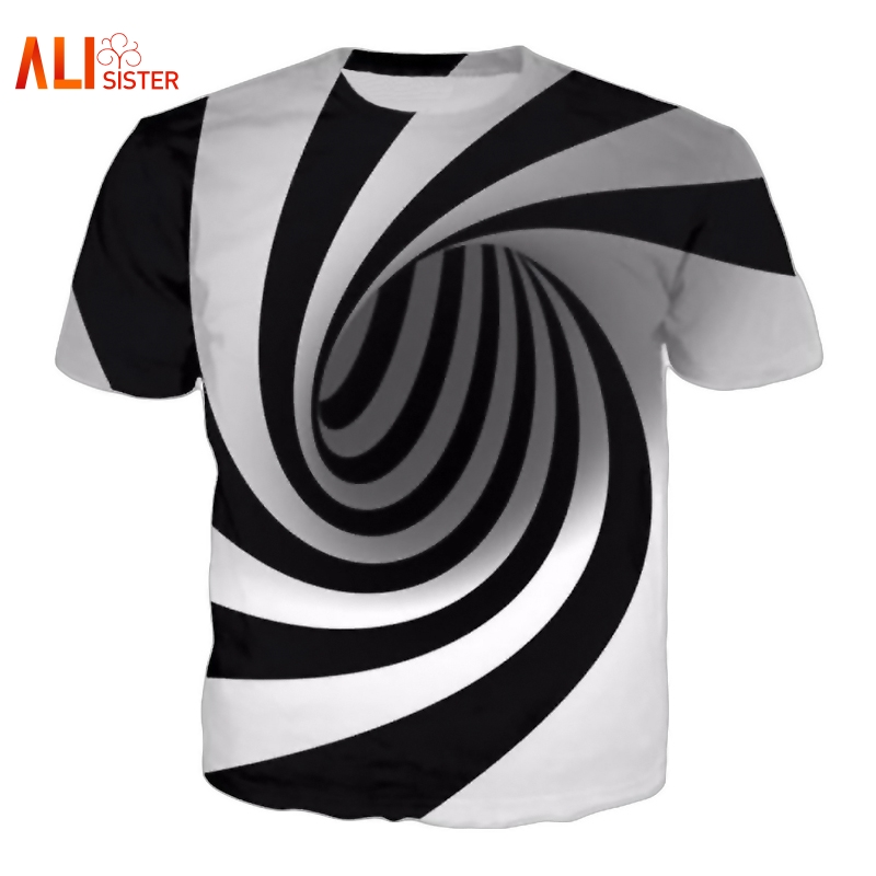 Alisister Black And White Vertigo Hypnotic Printing T Shirt Unisxe Funny Short Sleeved Tees Men/women Tops Men's 3D T-shirt black hollow out round neck short sleeves t shirt