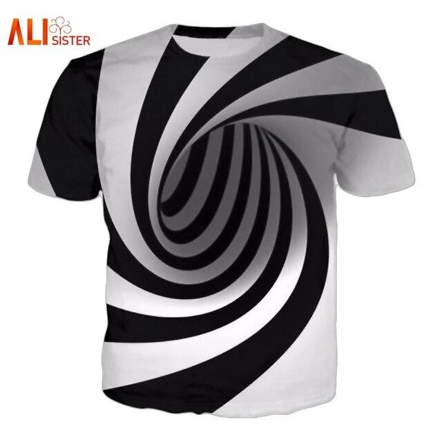 eff6914ad70 Alisister Black And White Vertigo Hypnotic Printing T Shirt Unisxe Funny Short  Sleeved Tees Men