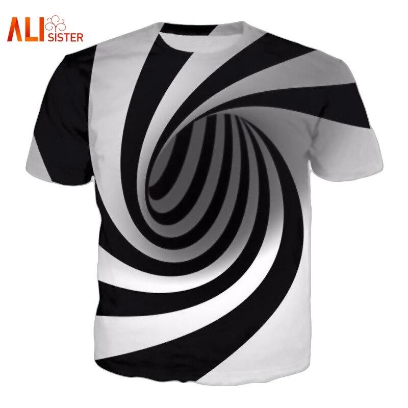 Alisister Noir Et Blanc Vertige Hypnotique Impression T Shirt Unisxe Drôle Manches Courtes T-shirts Hommes/femmes Tops Hommes de 3D T-shirt