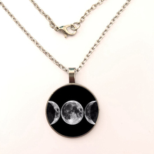 New Style Moon Necklace Glass Cabochon Pendant Necklace Silver Chain Luminous Jewelry Women Gifts luminous glass flower pendant necklace