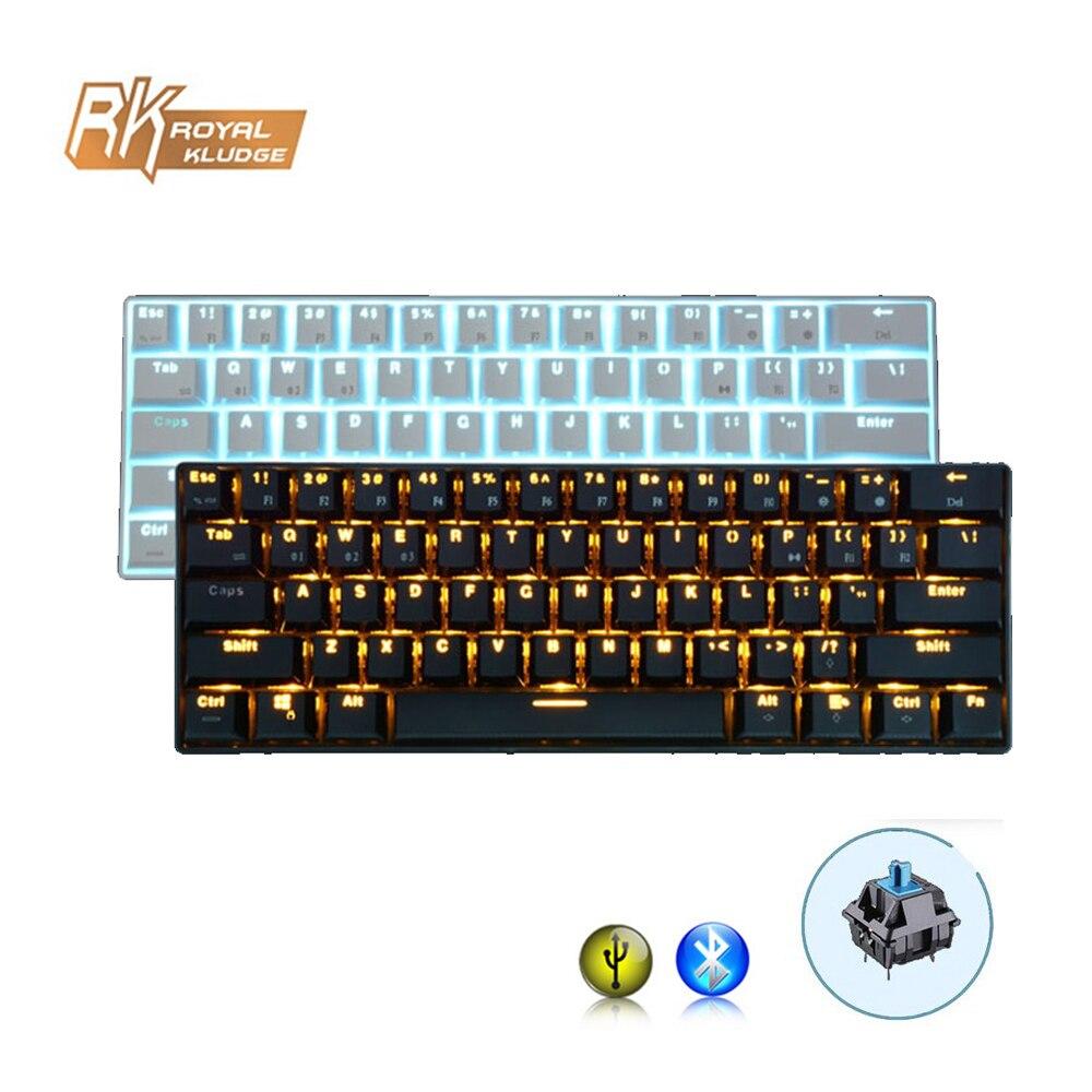 RK61 Wired Wireless Mechanical Gaming Keyboard 61 Key Bluetooth 3 0 Multi Device Blue Switch LED