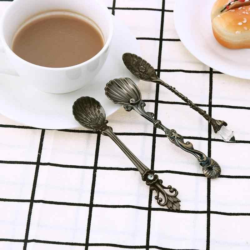 3 pièces Mini cuillère à café cuisine à manger barre Vintage Style Royal Dessert collations crème glacée cuillère en alliage de métal cuillère à café