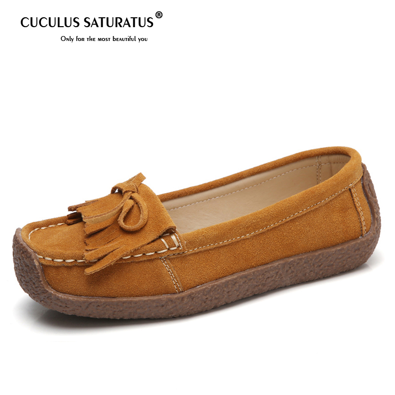 Cuculus Big Size Shoes Women Ballet Flats   Suede     Leather   Tassel Slip on Moccasins Women Shallow Loafers Boat Shoes ballerina 579