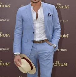 ANNIEBRITNEY Tailor Maß Sky Blue Männer Anzug Slim Fit Casual Bräutigam Prom Blazer Hosen Strand Sommer Stil Smoking Nach Großen größe Set