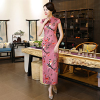 New Arrival Slim Traditional Chinese Women Dress Novelty Print Floral Sexy Cheongsam Elegant Mandarin Collar Qipao