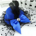 1Pc New Fashion Women Lady Party  Lady Hair Clip Mini Top Hat Accessory Feather Lace Bowknot