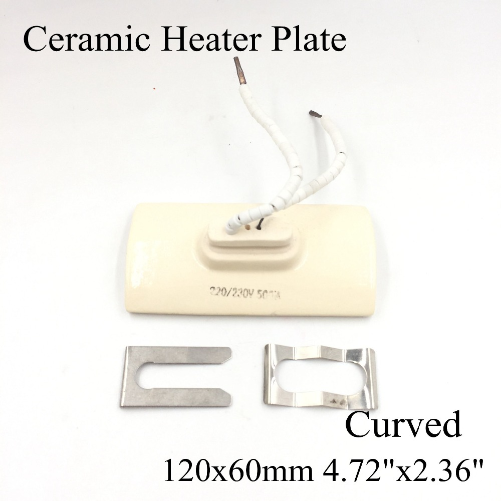 120*60mm Curved Vacuum Injection Molding Machine Repair Far-infrared IR Ceramic Heating Plate Air Ceramic Heater Board Pad 220v 210x100mm white ir infrared curved ceramic heater plate air heating board pad for bga station mould metal clip ptc heater
