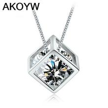 S925 sterling silver love cube crystal pendants Ms. square window Korean love silver jewelry women's jewelry