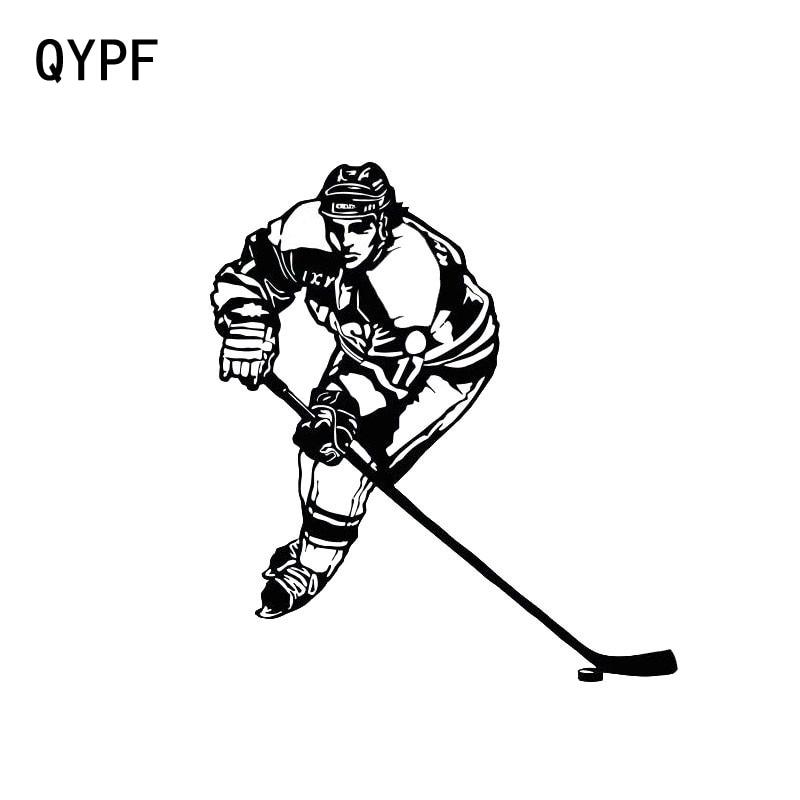 QYPF 11.5 см*13 см стайлинга автомобилей личность хоккей на льду мода Спорт винил наклейки черный Серебряный С2-0442
