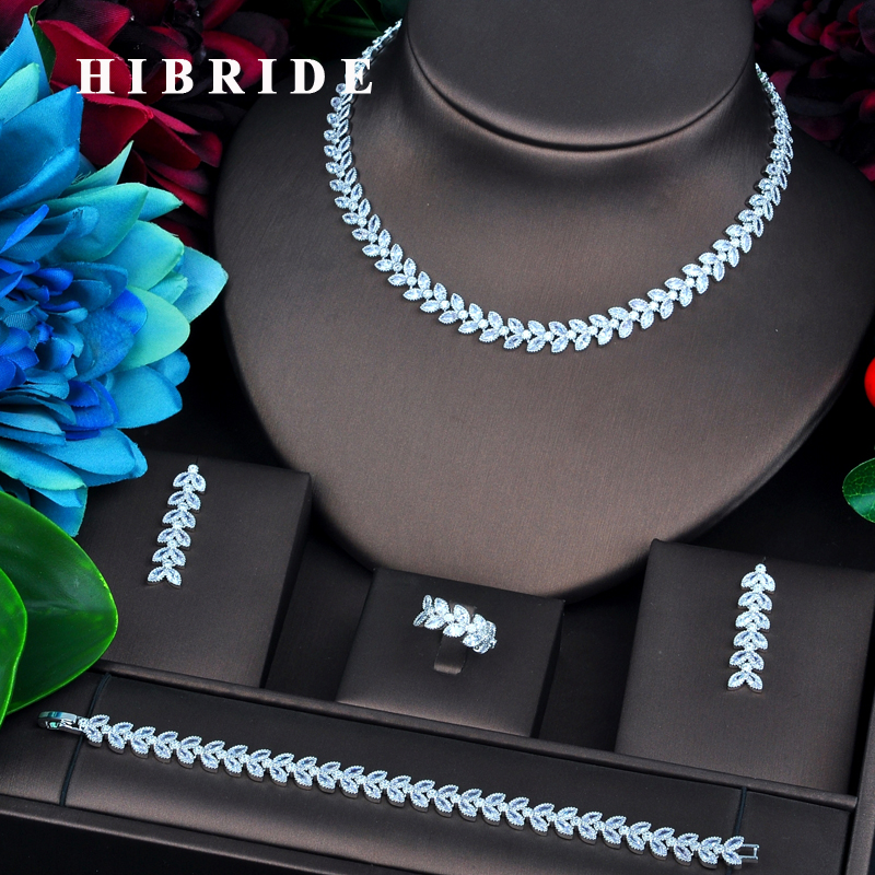 HIBRIDE New Design Leaf Shape Design Bridal Dubai Jewelry Sets For Women Wedding Accessories Party Gifts