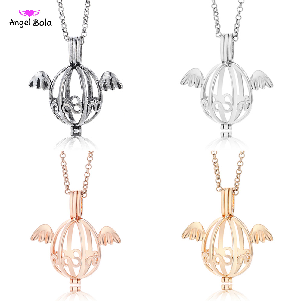 Angel Bola Long Aromatherapy Necklace Jewelry Lucky Essential Oil Necklace Cage for Women Power Diffuser Necklace NL076