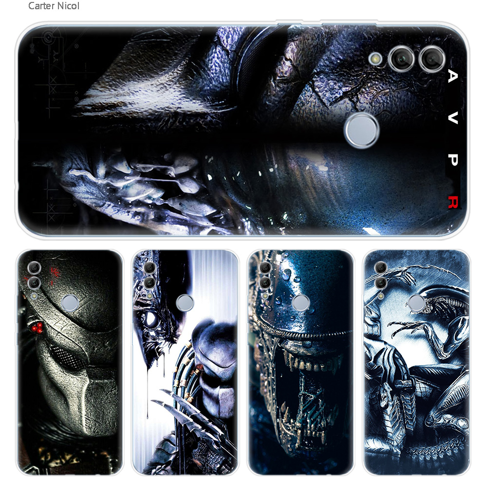 Alien vs Predator <font><b>Anime</b></font> Silicone <font><b>Case</b></font> Cover for Huawei <font><b>Honor</b></font> 10 Lite 8C 8X 7C Y6 Y7 Y9 Prime 2018 2019 7A Pro 7C Enjoy <font><b>8</b></font> 9 Plus image