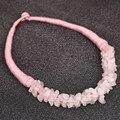 Precio barato Pink Natural piedra collares y colgantes gran declaración gargantilla collar cadena cuerda de la joyería Collier Femme