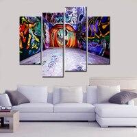 4 Cái Hiện Đại Canvas In Tranh Lớn Đầy Màu Sắc Đường Graffiti Nghệ Thuật Tường Nghệ Thuật Tường Sáng Tạo-to-tường Hình Ảnh cho Phòng Khách