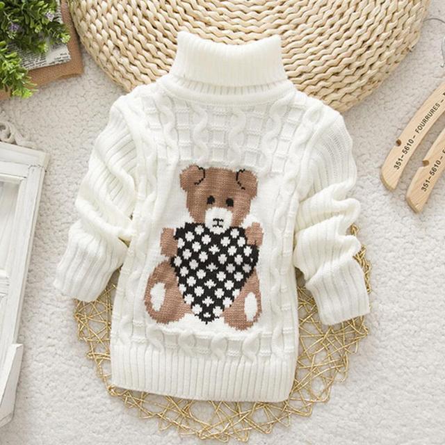 Venta caliente Para Bebé Muchachas de Los Cabritos de Los Niños Suéteres de Punto Otoño Invierno Suéteres de Cuello Alto suéter Caliente Prendas de Abrigo Boy