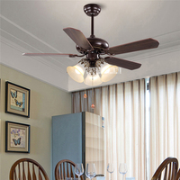 JD 865 Wooden Ceiling Fans 3 head 42 Inch Remote Control Ceiling Light Fan Lamp Living Room Ceiling Fan Light 220V E27*3 10 20m2
