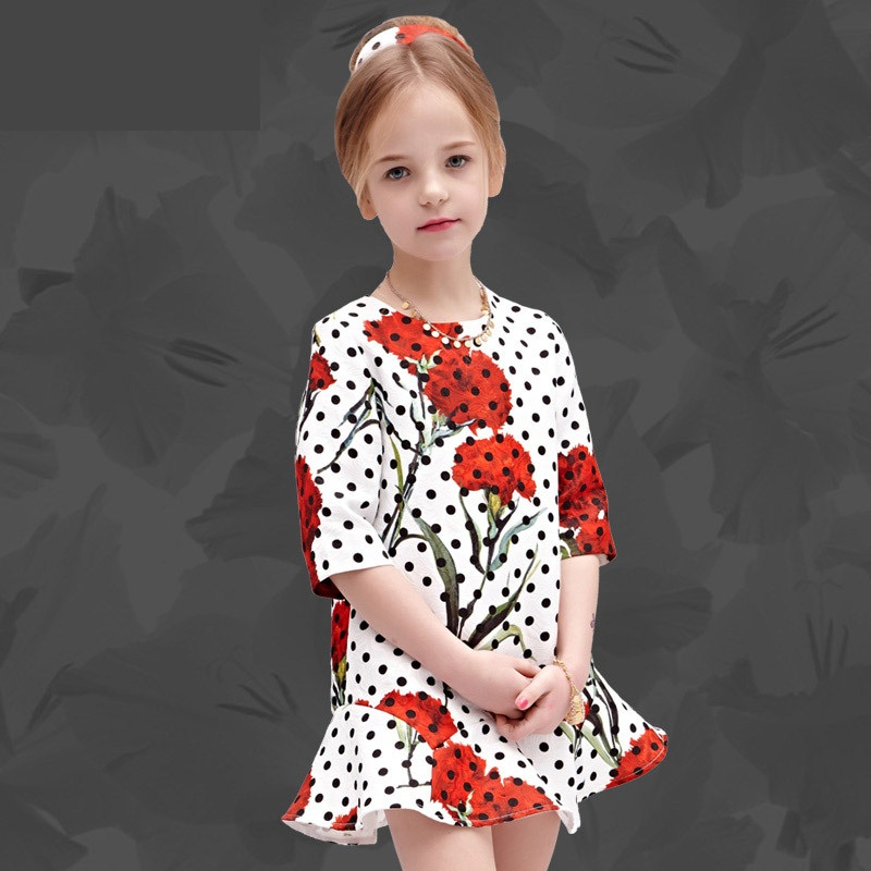 Spring Autumn children clothing flower polka dots jacquard Dress 100-160cm kids infant girls evening party formal mermaid dress цена