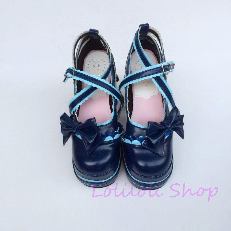 Princesse douce lolita chaussures loliloli yoyo grande taille cool brillant peau ultrama bleu dentelle boucle sangle bottes hautes an1124