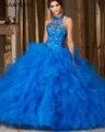 Najowpjg 2016 Chegam Novas Sexy Halter Azul Royal Quinceanera Vestidos De Luxo Cristal Vestido Charming Ruffles vestido de Baile Plus Size