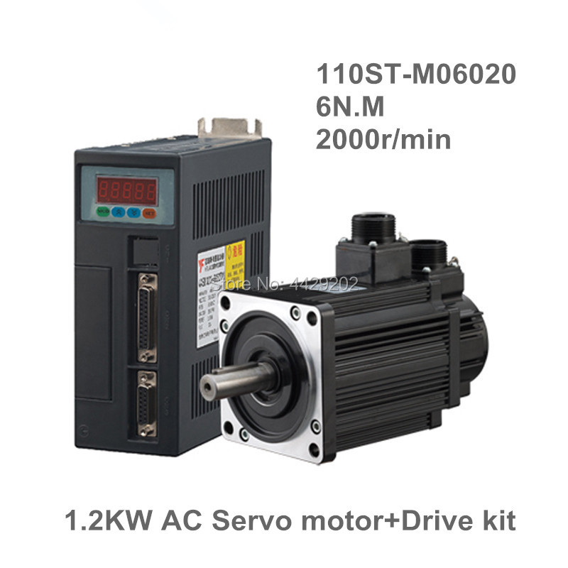 110ST-M06020 220V 1200W AC Servo motor 1.2KW 2000RPM 6N.M. servomotor Single-Phase ac drive permanent magnet Matched Driver 2017 limited ac servo motor best price great quality servo motor set 6n m 1 2kw 2000rpm 110st ac 110st m06020 matched driver
