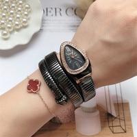 2019 CUSSI Snake Watch Gold Womens Watches Luxury Brand Quartz Wristwatches Diamond Ladies Bracelet Watch Reloj Mujer Clock Gift