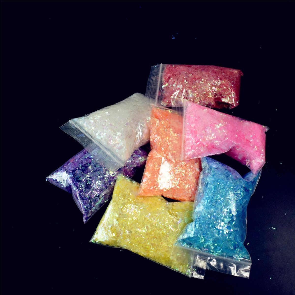 3D Shattered Ice Mylar กระดาษสติกเกอร์เล็บเครื่องมือตกแต่งเล็บกระดาษเชลล์แก้วหักเล็บเปลือกผลฟอยล์แนวโน้ม