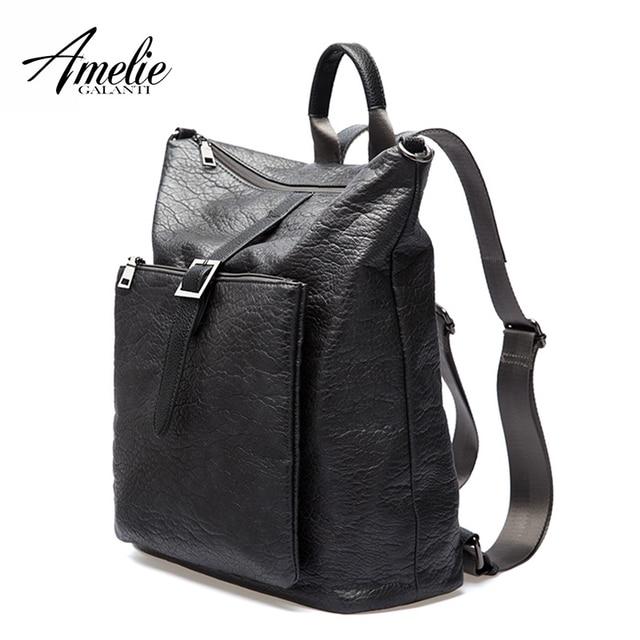 AMELIE GALANTI Women Backpacks Unisex Fashionable Avant-courier Multi-function Soft PU Waterproof Fabrics Laptop Bag
