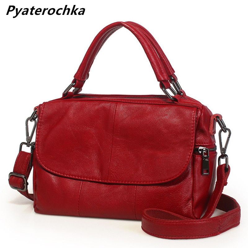 Pyaterochka Brand Bag Women Genuine Leather Boston Shoulder Bag Fashion Ladies Hand Bag Cheap Plaid Handbags