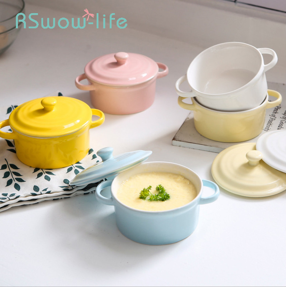 Creative 10CM In Diameter Steamed Egg Tarts Cute Bowls Ceramic Bowl Baby Soup Bowls With Lid Baby Food Bowl For Kitchen Supplies in Bowls from Home Garden