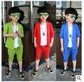Novas Crianças Jaqueta de Sistemas de Fluidos de Manga Curta Calça Terno Roupas Festa para Meninos Moda Menino Algodão Triângulo Roupas De Casamento 16J21