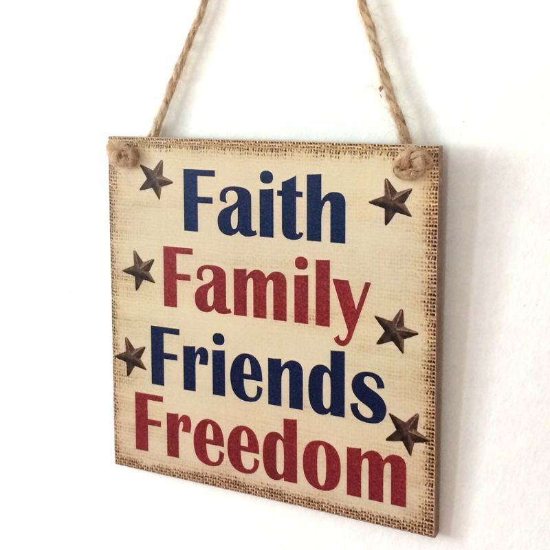 Image 3 - Rustic Wooden Hanging Plaque Sign Board Faith Family Friends Freedom Room Wall Door Home Decoration Gift-in Plaques & Signs from Home & Garden