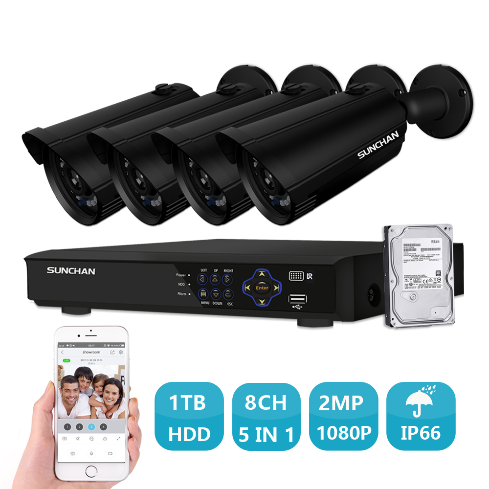 SUNCHAN 8CH 1080P AHD DVR 4PCS 2.0MP Day/Night Vision Outdoor CCTV Camera Home Security CCTV System Surveillance Kit 1TB HDD home 8ch cctv security camera set day night 600tvl camera 8channel dvr kit 1tb hard drive color video surveillance system sk 059