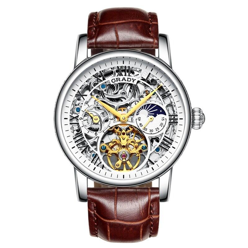 Скелет Мужские часы лучший бренд класса люкс автоматические механические часы спортивные водонепроницаемые черные бизнес пояса часы ...