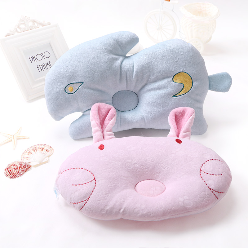 1PCS Soft Baby Infant Bedding Rabbit Print Oval Shape Baby Shaping Pillow Travel Support Prevent Flat Head Cushion High Quality