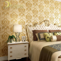 Simple Luxury European Style 3D Wallpaper Embossed Non Woven Damascus Wall Paper Rolls For Living Room