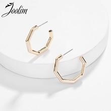 JOOLIM Matte Gold Polygon Hoop Earring Design Jewelry