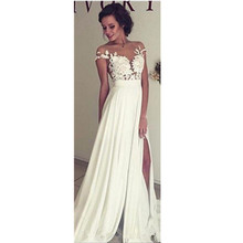 Empire Sheath Wedding Dresses Short Sleeve Bridal Gown Transparent Side Split Sexy Custom Made New Appliques White Ivory Fashion